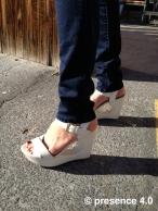 The crisp white heels