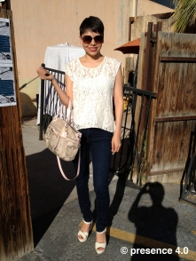 Amber is boho-chic in white&lace