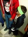 Models L-R: red hoodie by Alanzo Edzerza, shirt by Jared Yazzie for OXDX. Mini model: Diné bizaad bandana by David Sloan, beaded wayfarers by Candace Halcro, hoodie by Alanzo Edzerza.