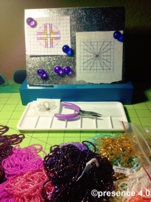 """This is pretty organized for me right now,"" said Preston with a laugh, regarding the milieu of beads on her work table."