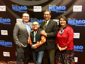 Joe Kee (translator and voice of Nigel), Quinton Kien (voice of Nemo), Navajo Nation President Russell Begaye, and Jennifer Wheeler (script translator for Finding Nemo)